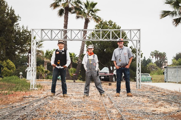 Three Young Train Engineers On Tracks At Fairview Park Costa Mesa