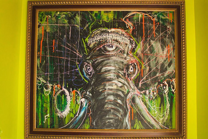 Location 1980: Colorful Painting Of An Elephant By Artist Jesse Fortune