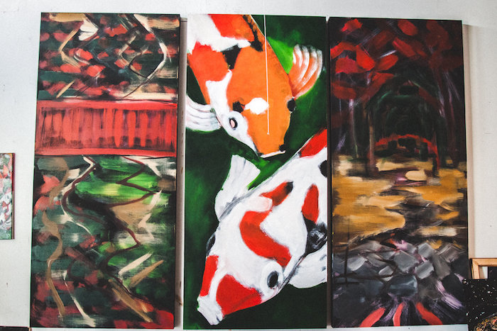 Location 1980: Painting In Progress Of Koi by Artist Jesse Fortune