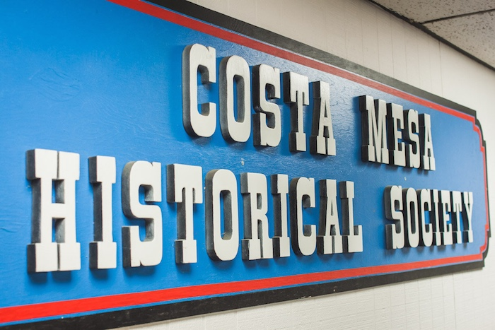 Blue Wooden Sign: Costa Mesa Historical Society